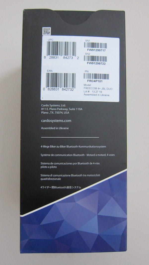 Freecom 4+ Cardo Scala RIder JBL box side serial numbers